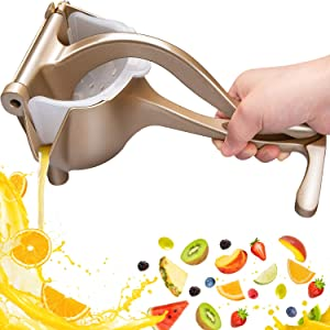 Automoness Stainless Steel Manual Fruit Juicer,Heavy Duty Aluminum Alloy Lemon Press Squeezer Premium Quality Lemon Orange Juicer,Simple Fruit Press Squeezer Citrus Extractor Tool