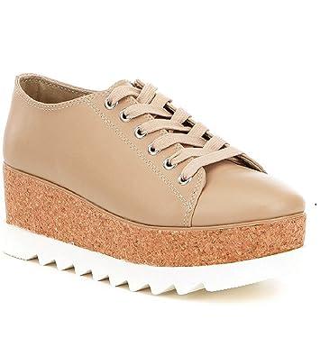 Steve Madden Korrie - Natural Leather High Platform Sneaker - Size: 6