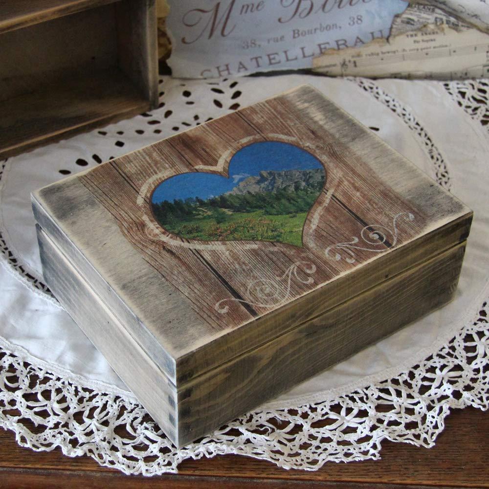 Teebox m 3 Fächer Landhaus Shabby Deko Holz Box Handarbeit Vintage Schatulle