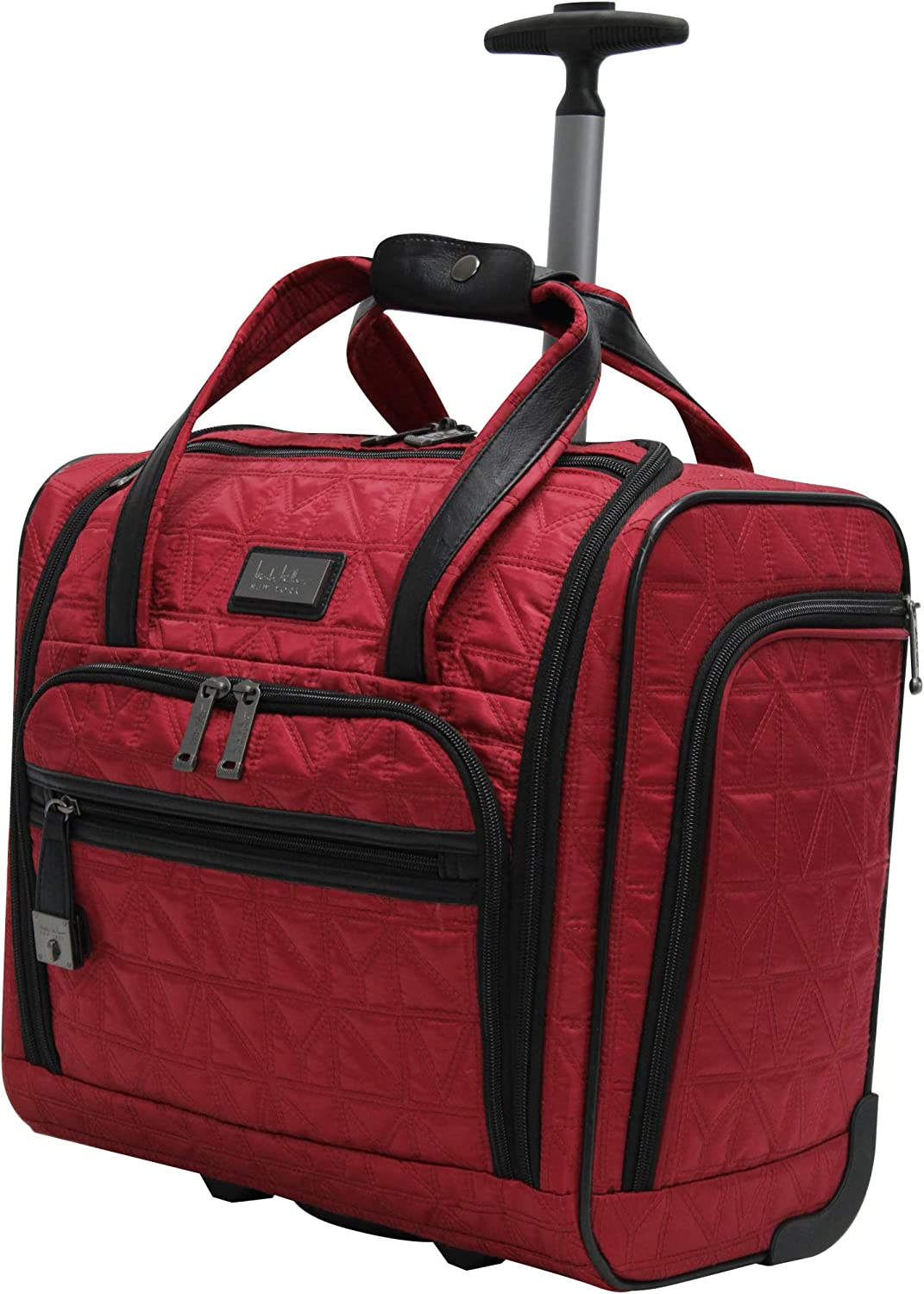 Briefcase for Women Small Lightweight 15 Inch Under Seat Bag Carry On Suitcase with 2- Rolling Spinner Wheels Nicole Miller Underseat Luggage Collection