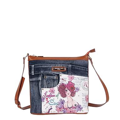 2d93a480fe09 Nicole Lee Wanda Denim Print Buckle Cross Body Bag