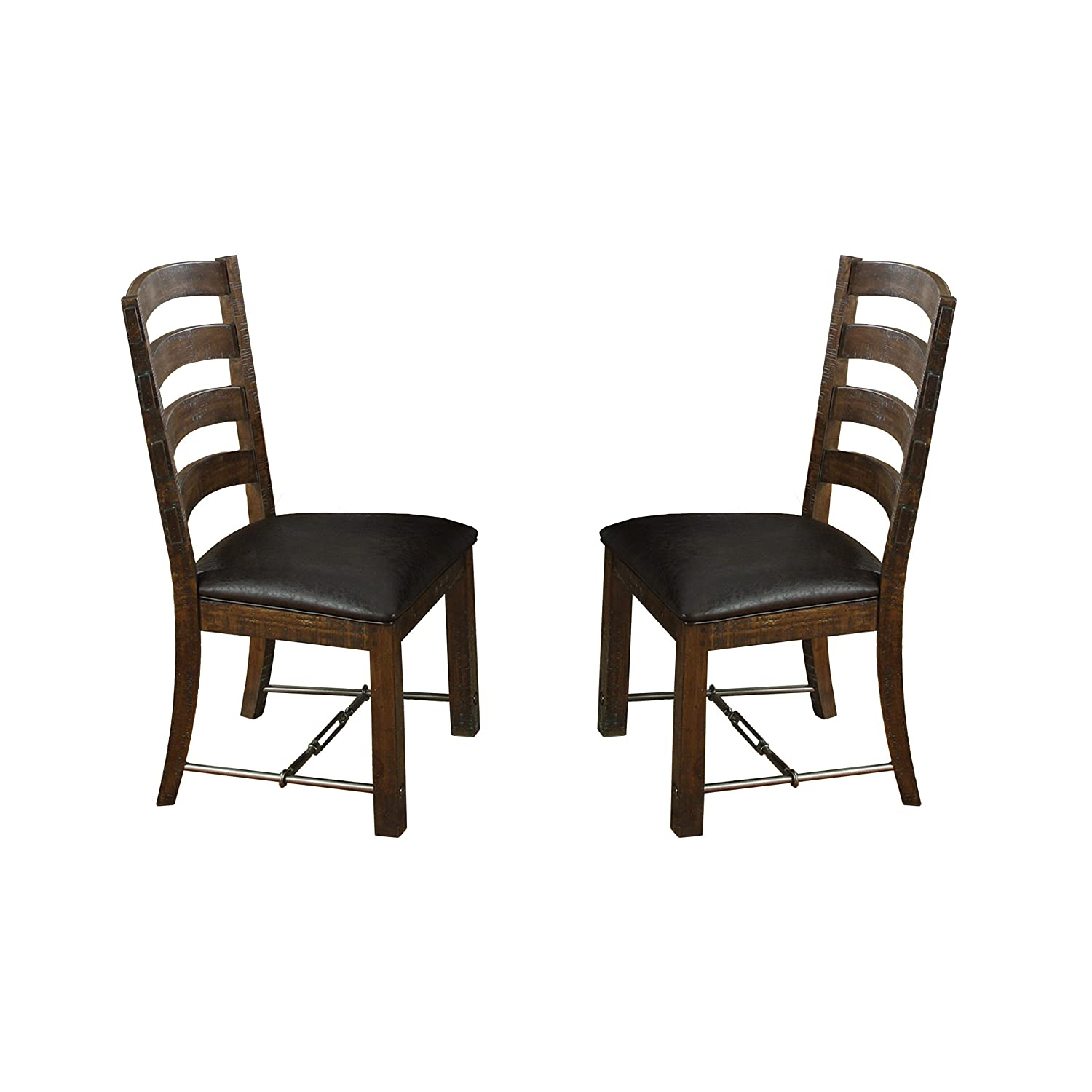 Emerald Home Castlegate Pine Brown Dining Chair with Upholstered Faux Leather Seat, Ladder Back, And Turnbuckle Bracing, Set of Two