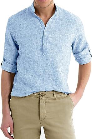Camisa de Hombre de Lino con Cuello Coreano, Color Celeste, de Manga Larga, de Verano, Slim Fit, para sastrería, Mangas Ajustables, S, M, L, XL, XXL