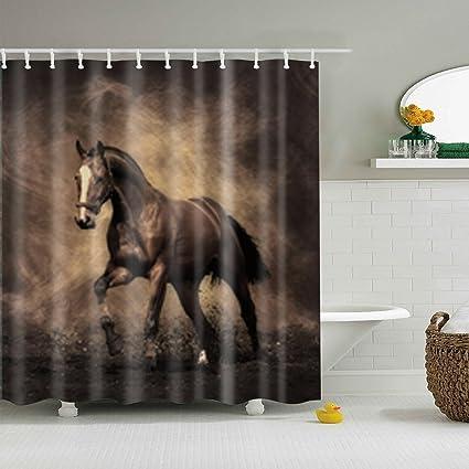Bon Yumian Horse Bathroom Decor Shower Curtain Waterproof Fabric With 12 Hooks  Set 71x71nch