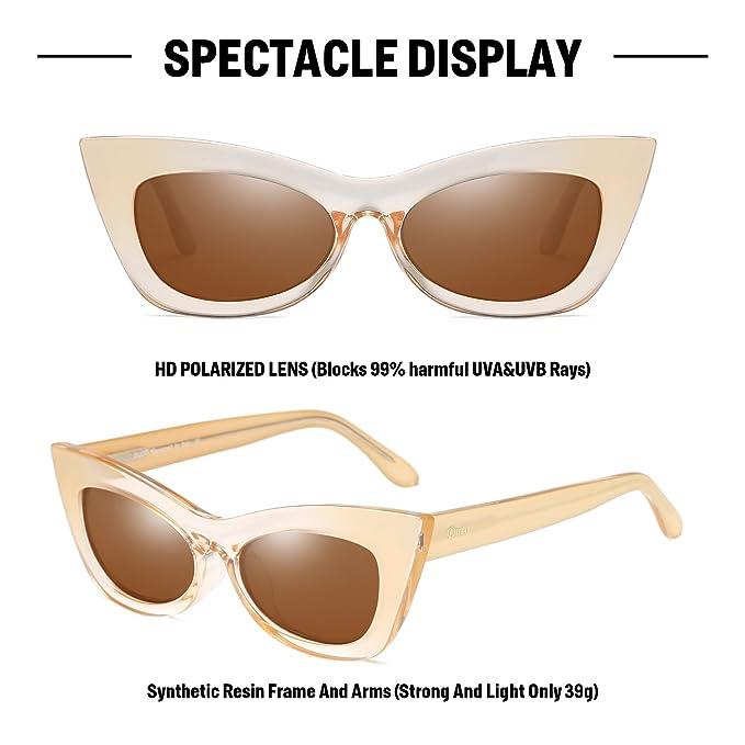 073cef01c1 Duco femmes Vintage Œil de chat lunettes de soleil chic en gras bordée de  lentilles UV400 polarisée W005 (Champagne): Amazon.fr: Vêtements et  accessoires
