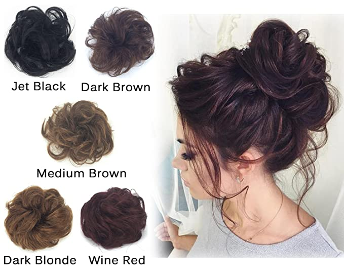 Amazon Com Messy Wavy Curly Ponytail Bun Extensions Remy