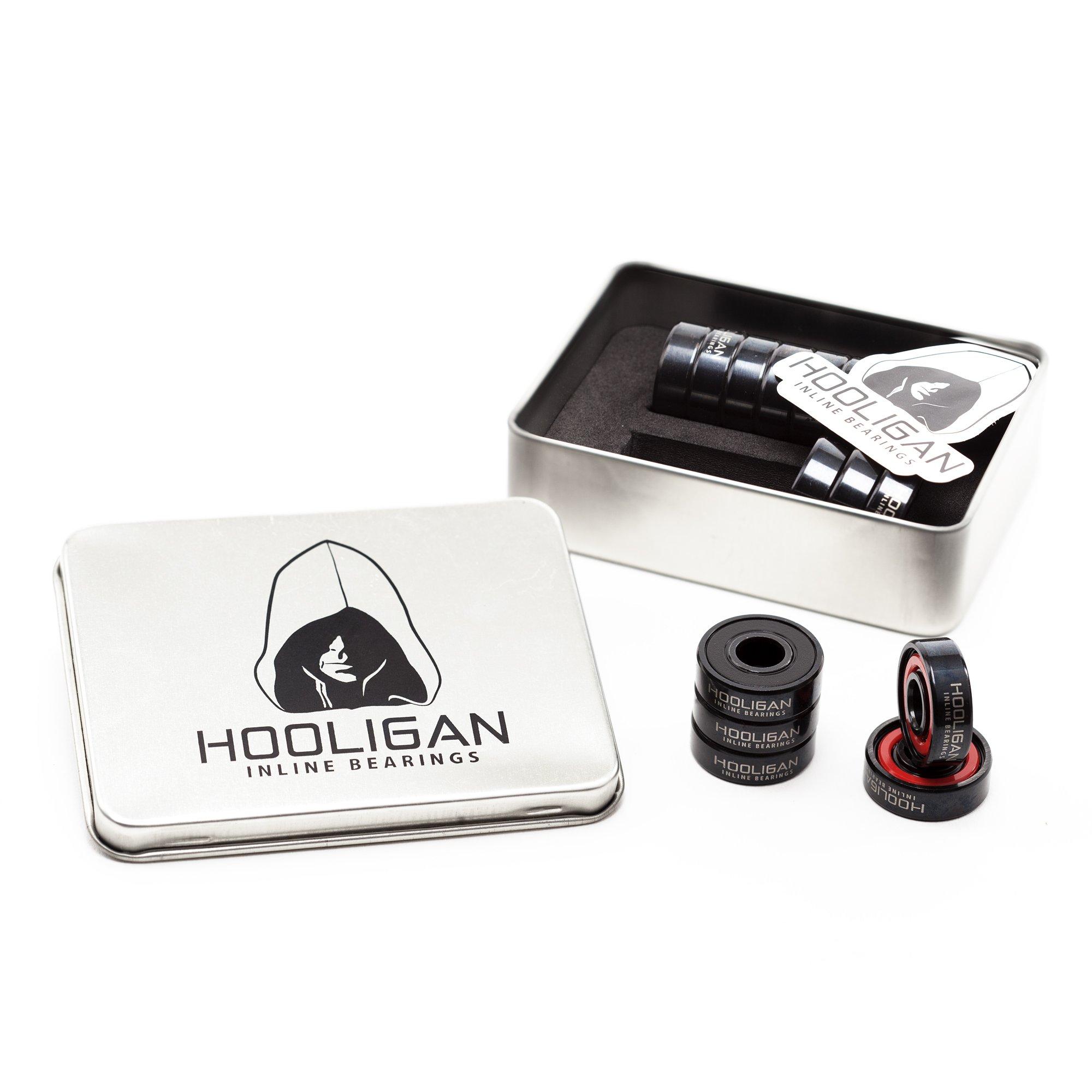rulemanes de skate en línea Hooligan. Paquete de 16 (rojo / negro)