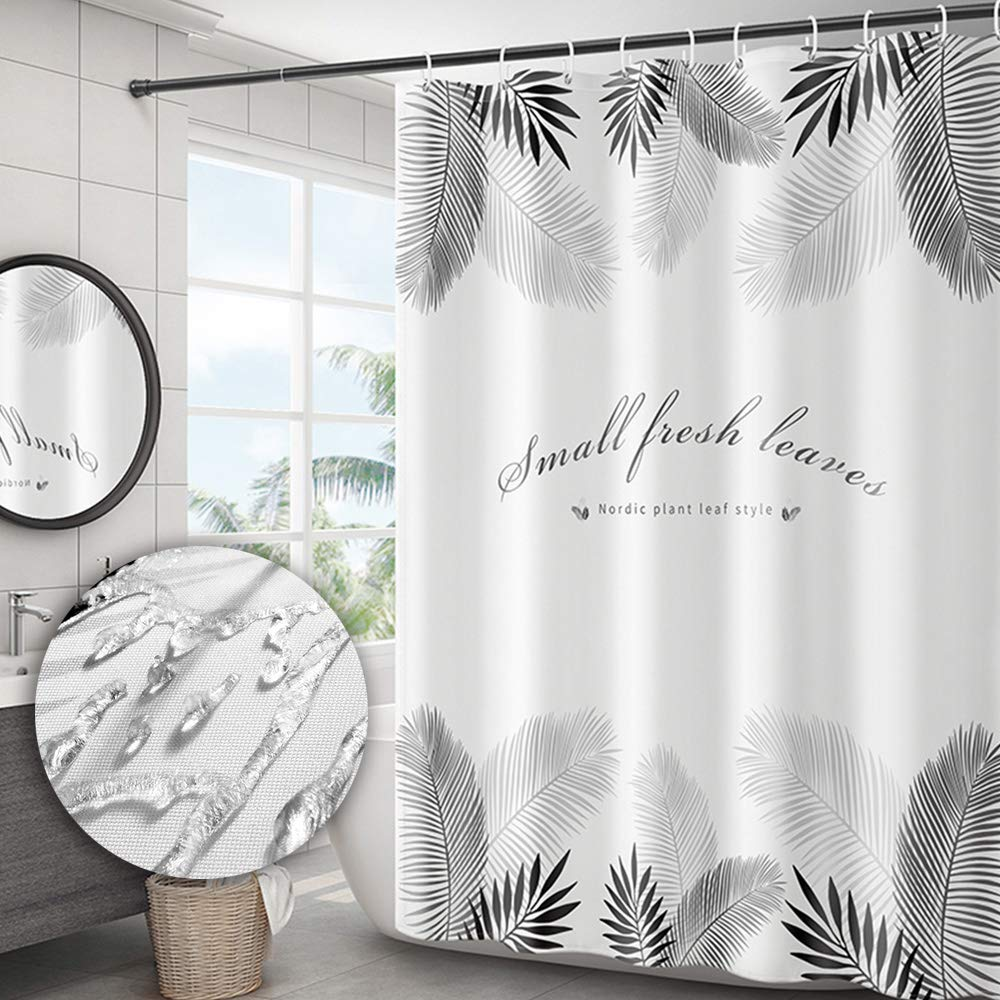 Yuclock Polyester Shower Curtain Waterproof and Moisture-Proof Thick Bathroom Partition Curtain, 80X180 cm, Include Hook