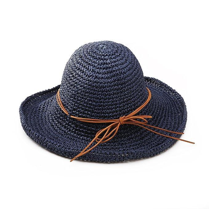 Andux Ala ancha paja sombreros para el sol del verano mujeres Retro viajes  sombrero gorra visera 20ccf95ff8b