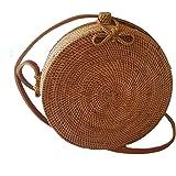 Rattan Nation - Handwoven Round Rattan Bag (Plain Weave Ribbon Closure), Straw Bag