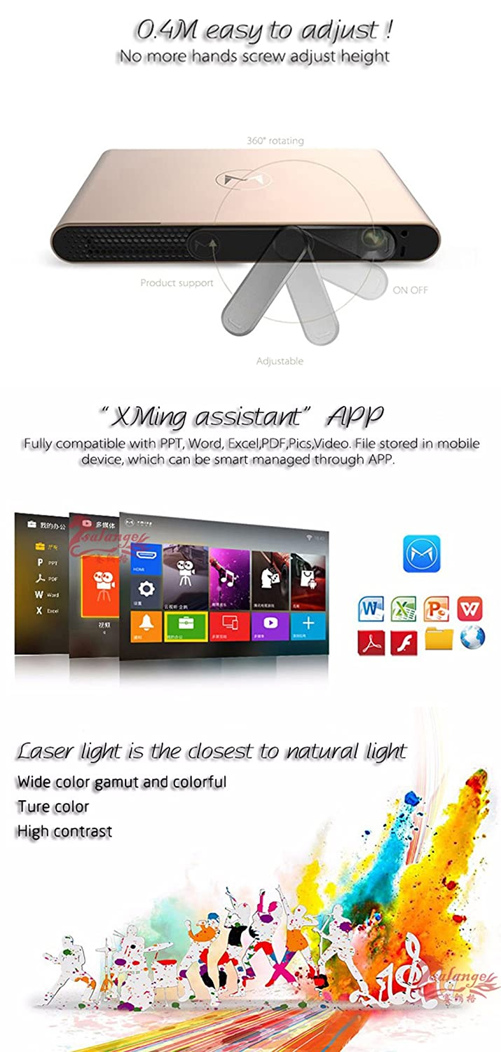 XMING S2 Android WiFi 4K Pico Laser DLP Projector with HDMI2 0 2G
