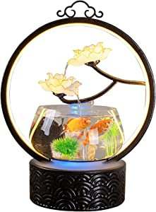 crapelles Tabletop Waterfall Indoor Fountain Fish Tank, Home Office Landscape Decor fengshui Gift, Design Element Brown Metal Ring, White Plastic Lotus with Gold Rim, Black Corrugated Ceramic Bowl