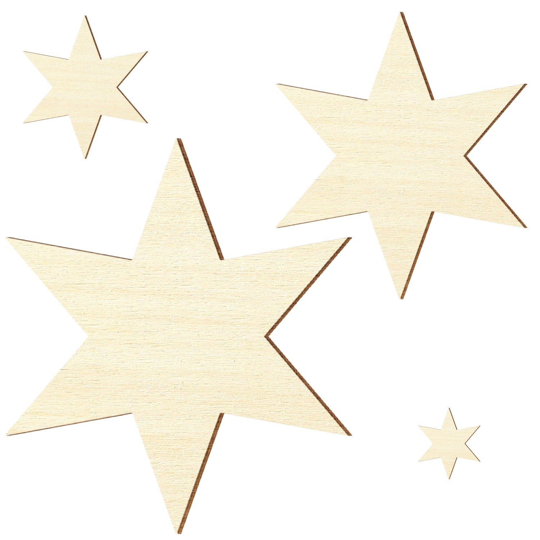 Gr/ö/ße:H/öhe 40cm Breite 34.64cm Holzstern Pappel 3mm 6 armiger Stern Gr/ö/ßenauswahl Sperrholz Zuschnitte