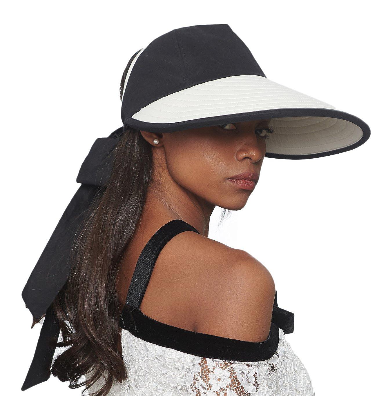 CACUSS Sombrero de Sol de Verano para Mujeres Sombrero de ala Grande Visor  Ajustable Packable UPF cd782f8538b