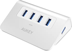 AUKEY USB Hub 3.0 Portable Aluminum 4 Port USB 3.0 Hub for Data Transfer with 3.3ft USB Cable for MacBook Air, Mac Mini, iMac, Laptop, PC, USB Flash Drives, HDD Hard Drive (Silver)