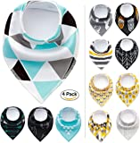 Paws n' Play 4 Piece Fun Bright Color Snap-On Pet Dog Bandana Triangle Scarf Bibs - Accessories for Dogs, Puppy, Cats - Small/Medium, Soft Cotton