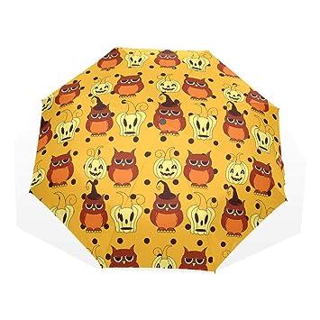 GUKENQ - Paraguas de Viaje para Halloween, diseño de búhos y Calabazas, Ligero,