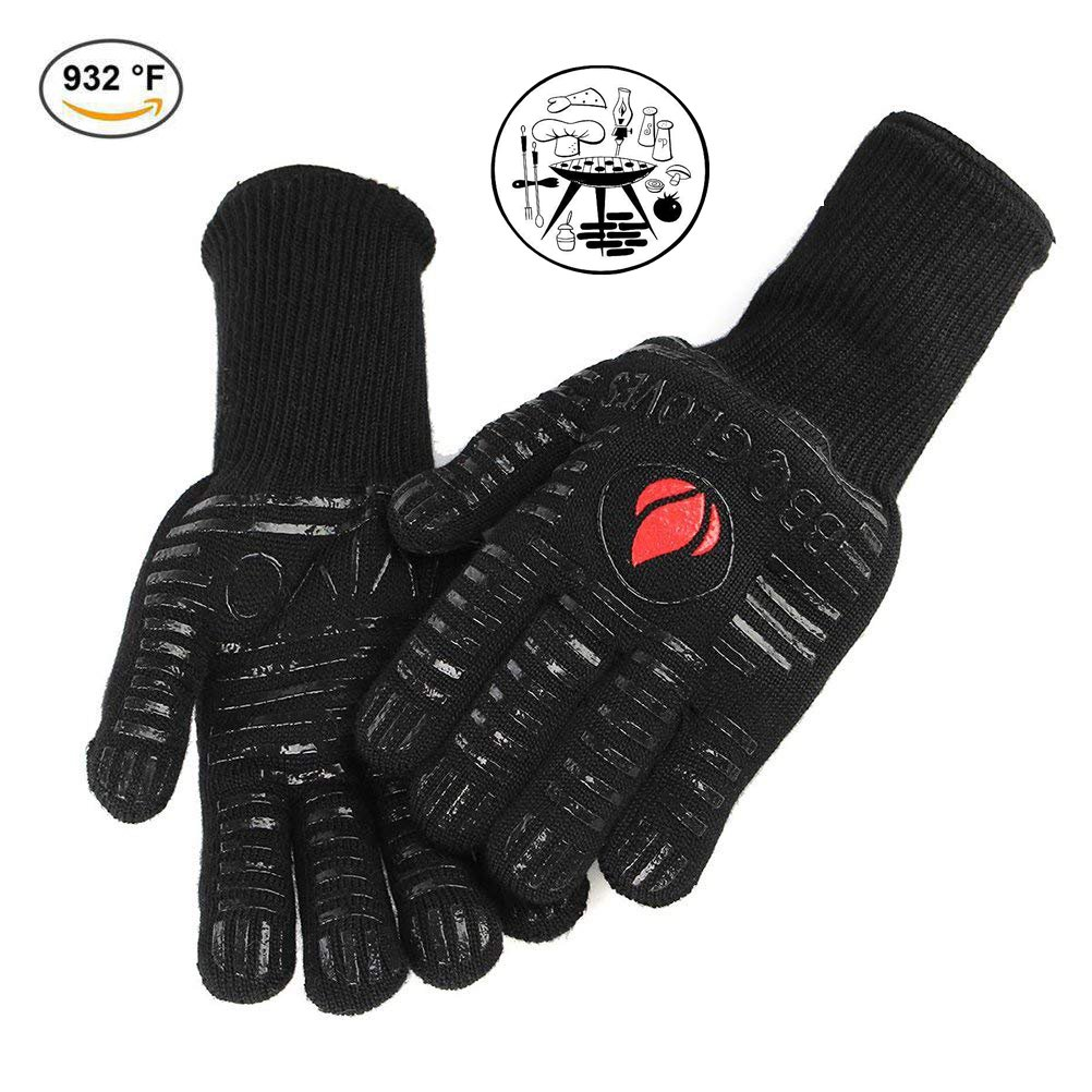 BBQ Gloves 932°F Extreme Heat Resistant Oven Gloves EN407 Certified BBQ Gloves For Cooking Grill Baking Microwave High-Temperature Anti-Hot Gloves Extended Long Cuff (1 Pair) (Black1)