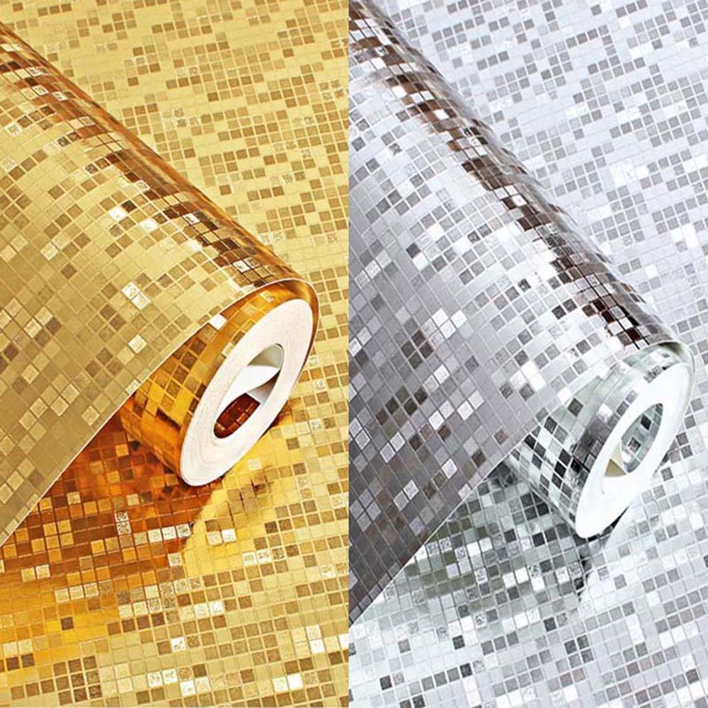 LINGJUN 10 Metros 3D Papel Pintado Mosaico Papel de Pared Tres Dimensional Oro Iluminada Moderno para Decoraci/ón Habitaci/ón Fondo de Sala Televisi/ón