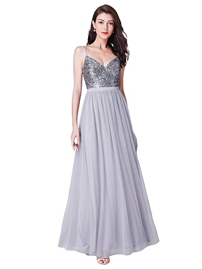 Ever Pretty Womens Floor Length A Line Long Sequin V Neck Tulle Formal Evening Dresses Sliver