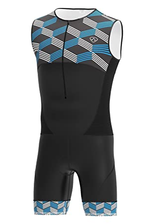 DHERA Mens Sleeveless Triathlon One Piece Padded Cycling Skinsuit for  Swimming 49c26fb2c