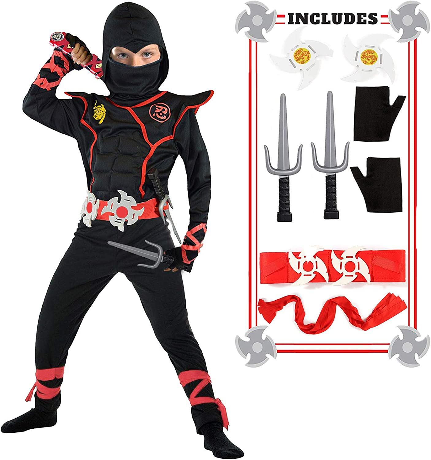 Ninja Costume Boy Halloween Kids Costume Boy Ninja Muscle Costume with Ninja Foam Accessories Best Children Gift