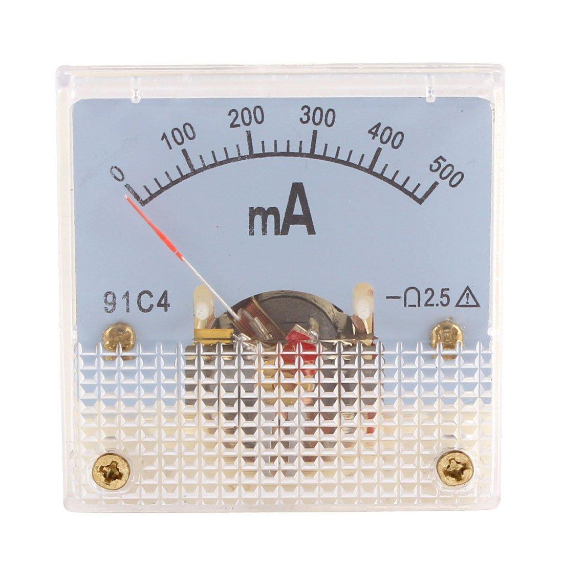 sourcingmap/® 91C4 DC 0-500mA Rect/ángulo Mini Analogico Panel Amper/ímetro Medidor Amper/ímetro Clase 2.5