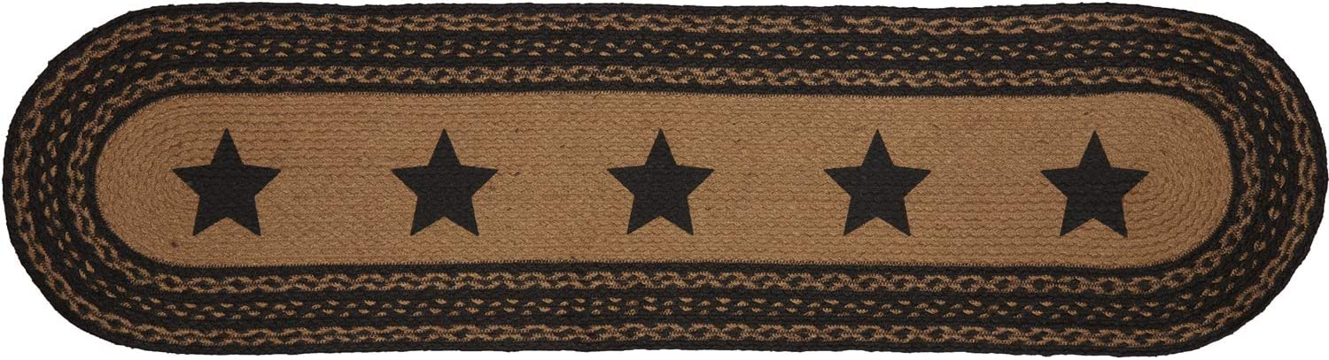 VHC Brands Farmhouse Star Jute Primitive Tabletop Kitchen Oval 13x48 Runner, Country Black