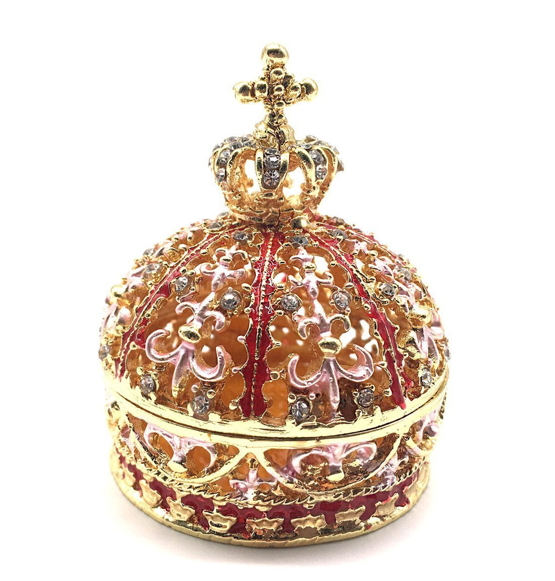 Crown Trinket Box Ring Holder, Pewter Trinket Dish Figurines Collectible Gifts