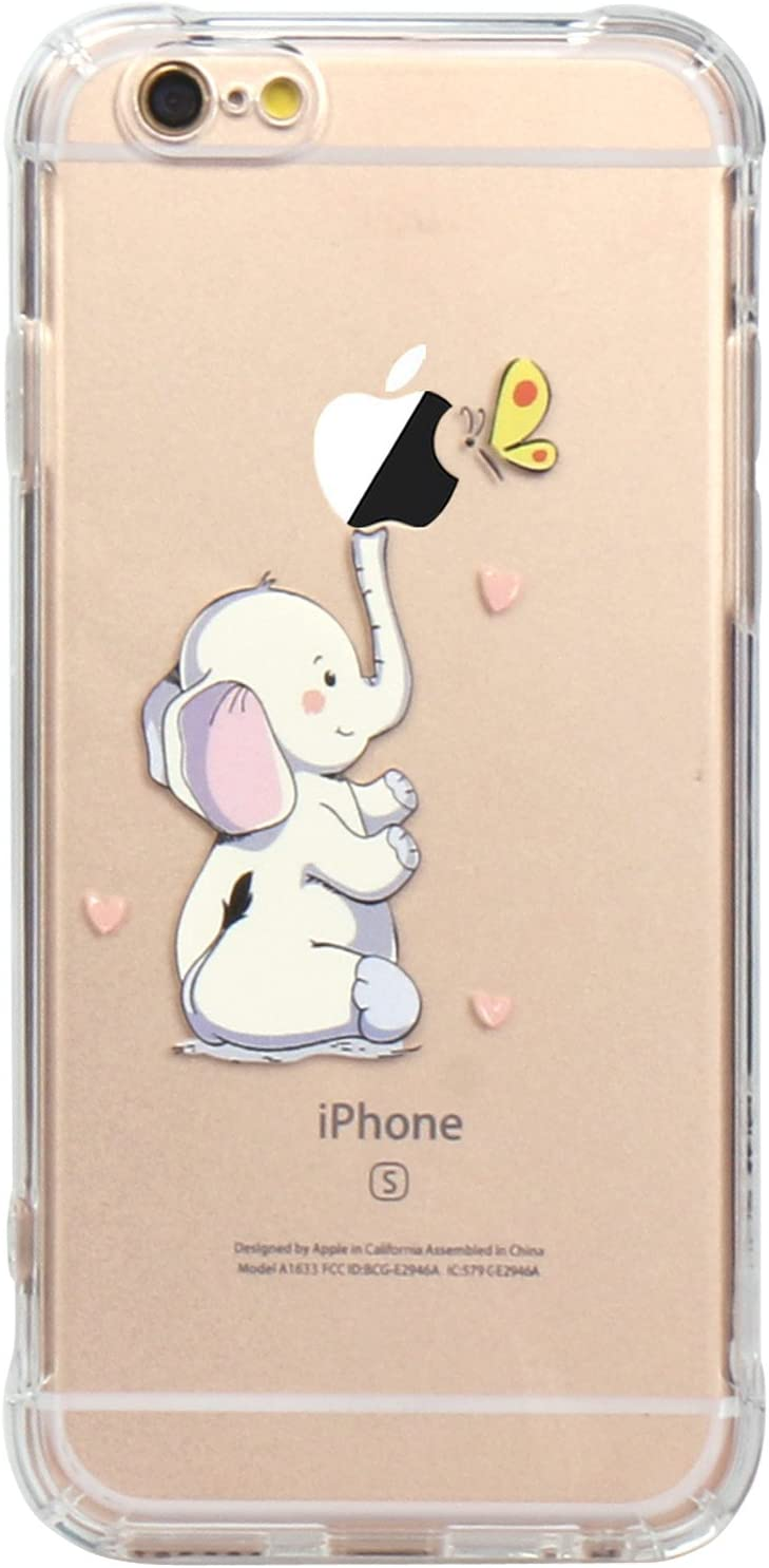 JAHOLAN iPhone 6 Case, iPhone 6S Case Amusing Whimsical Design Clear Bumper TPU Soft Case Rubber Silicone Skin Cover for iPhone 6 6S - Elephant Cute