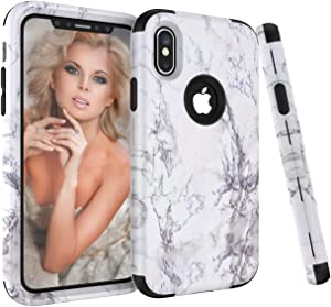 iPhone X Case, Ankoe White Marble Stone Pattern Shockproof Full Body Protective Cover Dual-Layer Slim Soft Flexible Silicone and Hard PC for Apple iPhone X (Black)