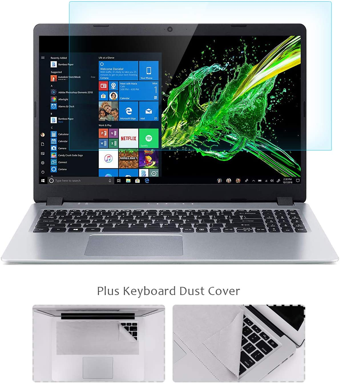 "FORITO 15.6"" Laptop Tempered Glass Screen Protector Compatible with 15.6"" HP/DELL/Asus/Acer/Sony/Samsung/Lenovo/Toshiba/Razer 16:9 Display, with Fabric Keyboard Screen Protector, Bubble Free"