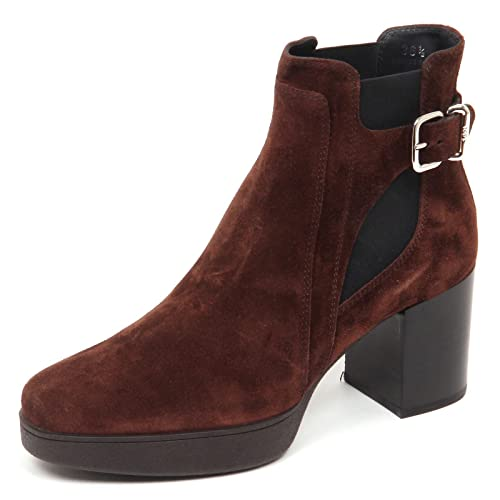 Scarpe Donna Brown Tod's Boot Woman Tronchetto E5182 Suede Shoe rsQdCth
