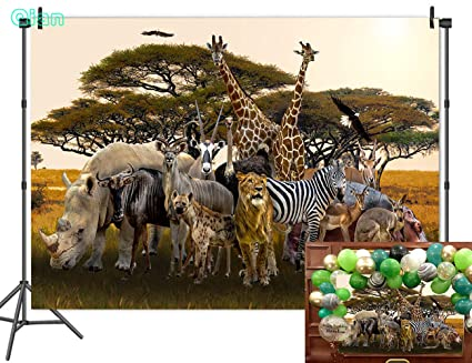 2674eea632f9 Qian Tropical African Forest Jungle Safari Scenic Photography Backdrops  Animals Family Tiger Long Deer Zebra Kangaroo Photo Background For Boys ...