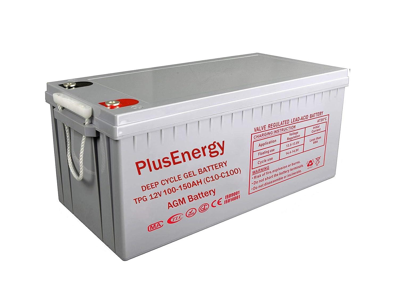 beige PlusEnergy AGM Gel Battery 250 Ah and 150 Ah 12 V Deep Cycles for Solar 1 AGM 150AH