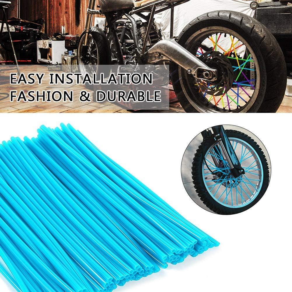 Akozon 36pcs Wheel Spoke Protector Motocross Rims Skins Covers Off Road Motorcycle Guard Wraps Kit blue