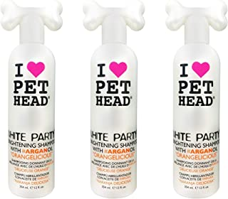 product image for Pet Head 3 Pack of White Party Brightening Shampoo for Dogs, 12 Ounces Each, with Argan Oil, Orangelicious