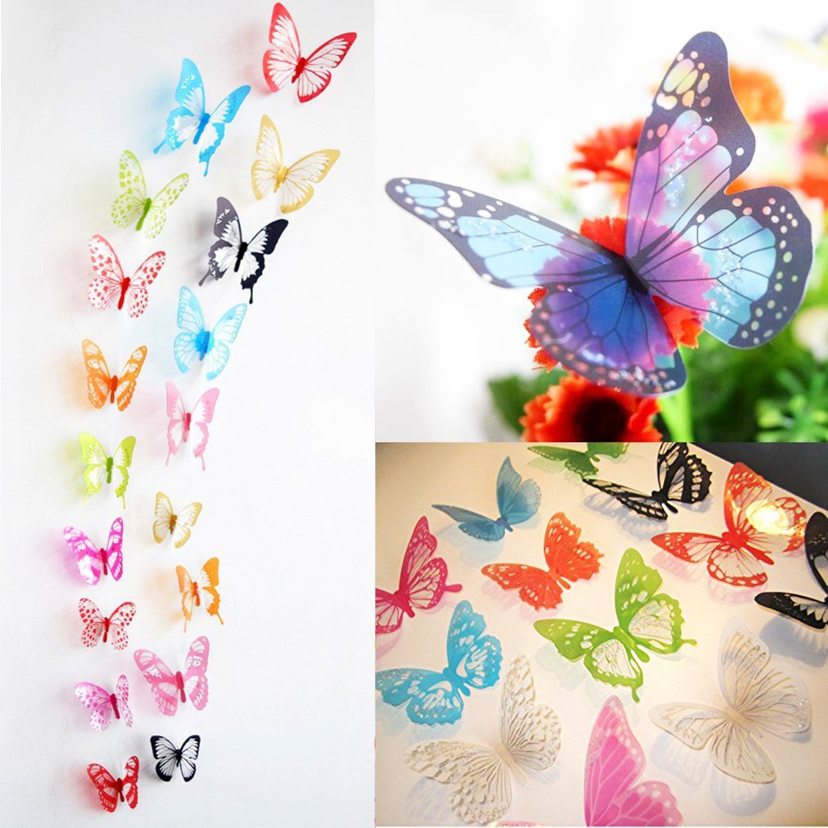 Amazon ElecMotive 36 Pcs 3D Color Crystal Butterfly Wall Stickers With Adhesive Art Decal Satin Paper Butterflies Home DIY Decor Removable