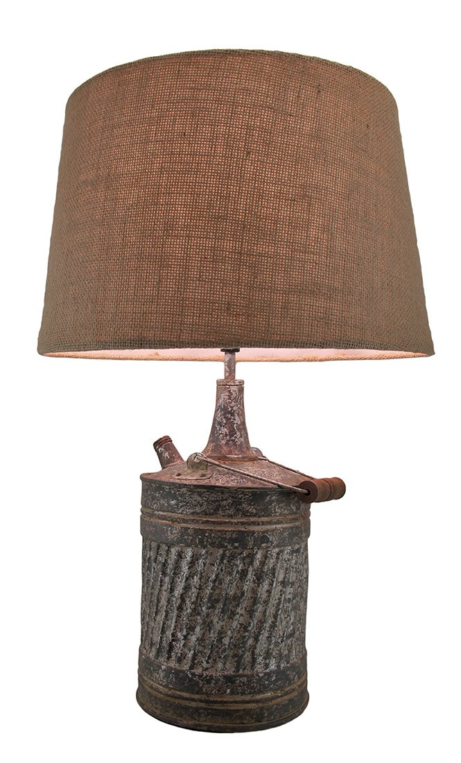 Resin Table Lamps Antique Finish Vintage Galvanized Can Table Lamp W/Burlap Fabric Shade 20 Inch 13 X 20 X 13 Inches Gray