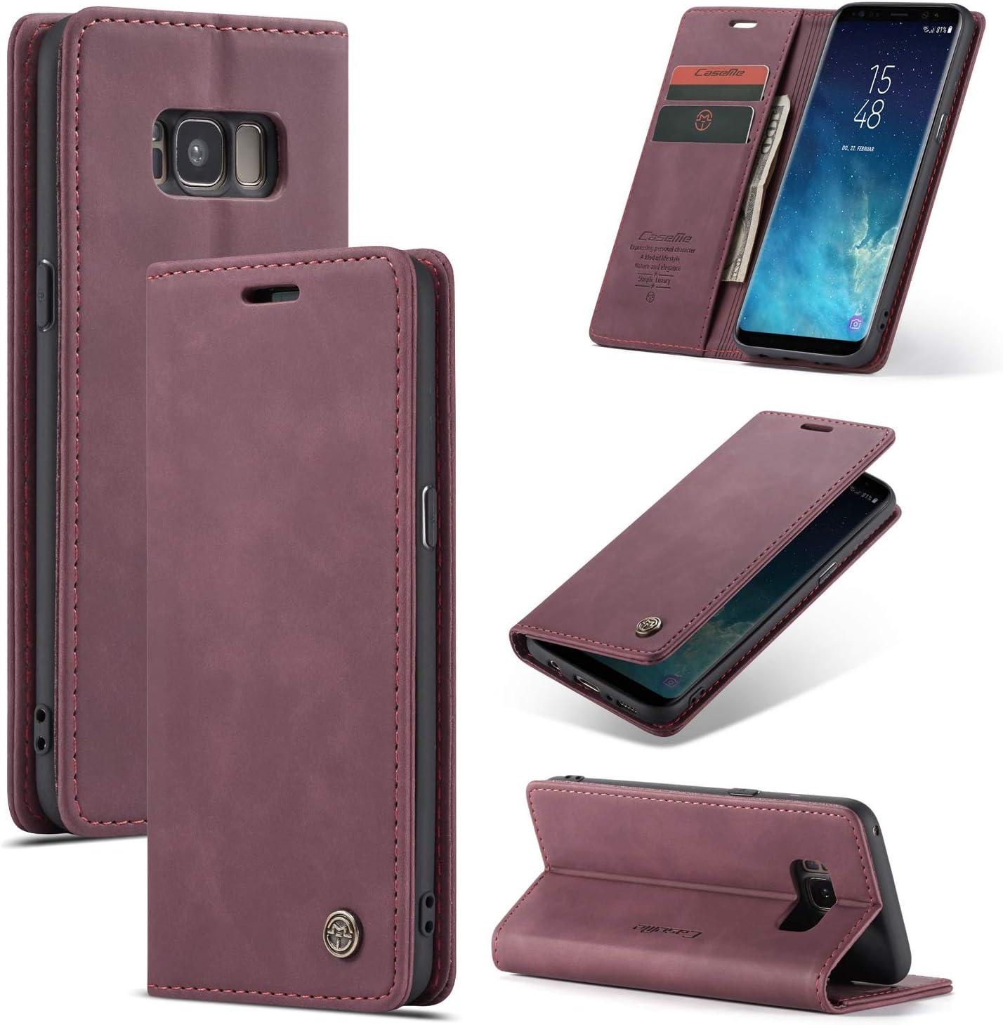 AKC Funda Compatible para Samsung Galaxy S8 Carcasa con Flip Case Cover Suave PU Cuero Cierre Magn/ético Plegable Carter Soporte Prueba de Golpes Caso Anti-rasgu/ños con Tapa Tarjetas-Caf/é