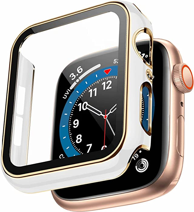 Swhatty Case Compatible with Apple Watch 44mm 40mm 42mm 38mm, Bumper Built in Tempered Glass Screen Protector, Protective Cover for iWatch Series SE 6 5 4 3 2 1 Women Men (Light Gold Edge White, 42mm)