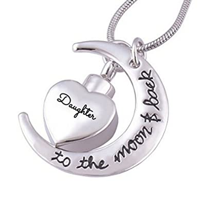 Beydodo Stainless Steel Memorial Necklace UrnEngravedAshes Necklace Heart Crescent Cremation Jewellery uKxSIkP