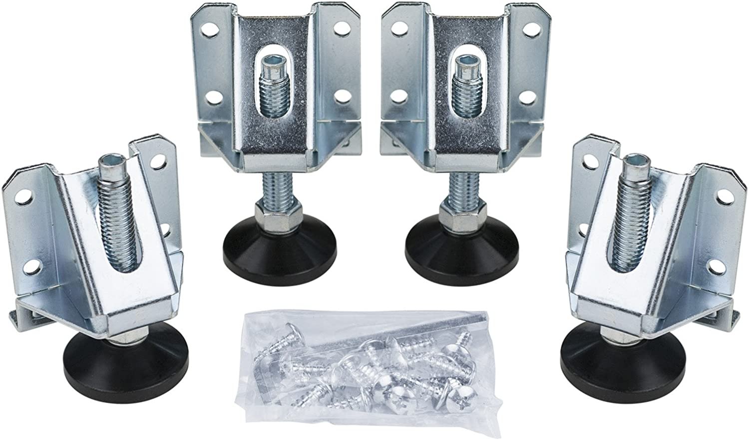 POWERTEC, 4-Pack 71136 Heavy Duty Kit   4 Pack   Leveler Legs with Installation Screws and Lock Nuts for Cabinets Furniture Shelves Tables