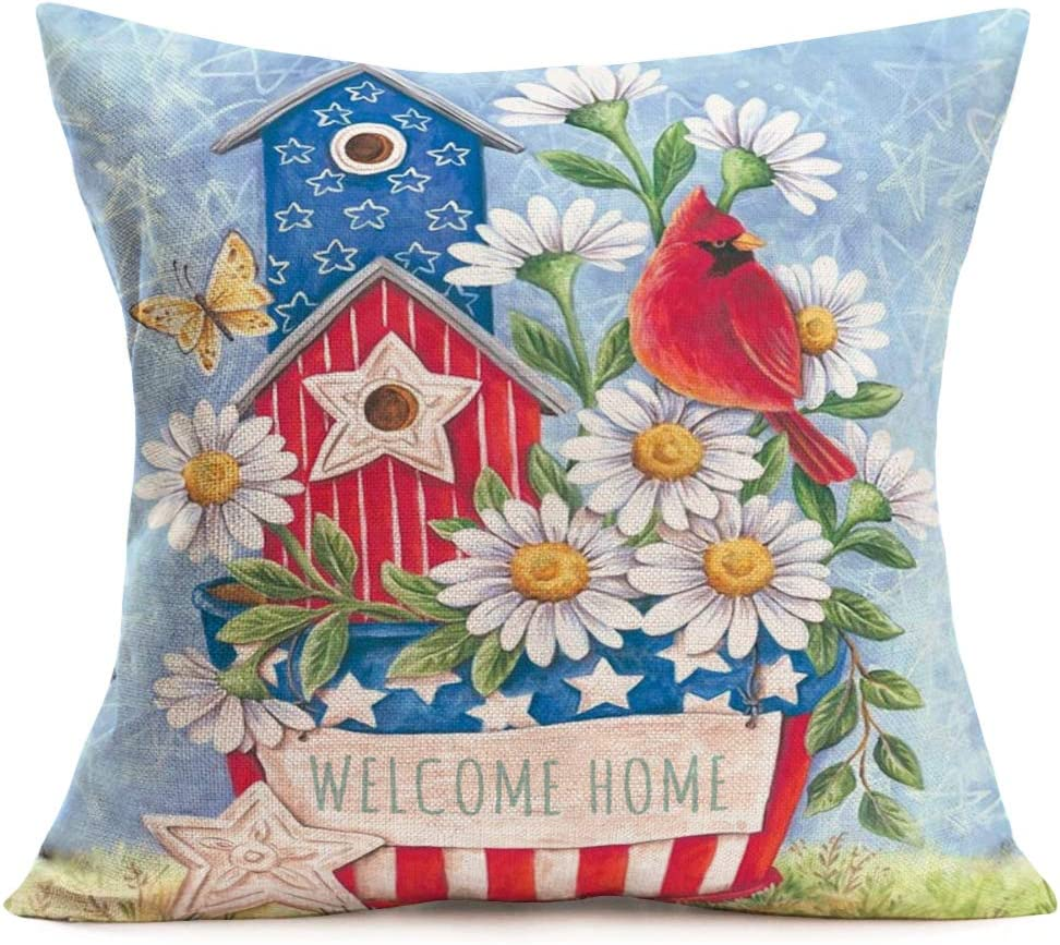 """Tlovudori Welcome Home Quote Decor Throw Pillow Covers White Daisy Flowers with Red Cardinal Bird Blue Stars and Stripes Flag Cotton Linen Pillowcase Cushion Covers for Home Sofa 18""""x18"""" (wl Home)"""