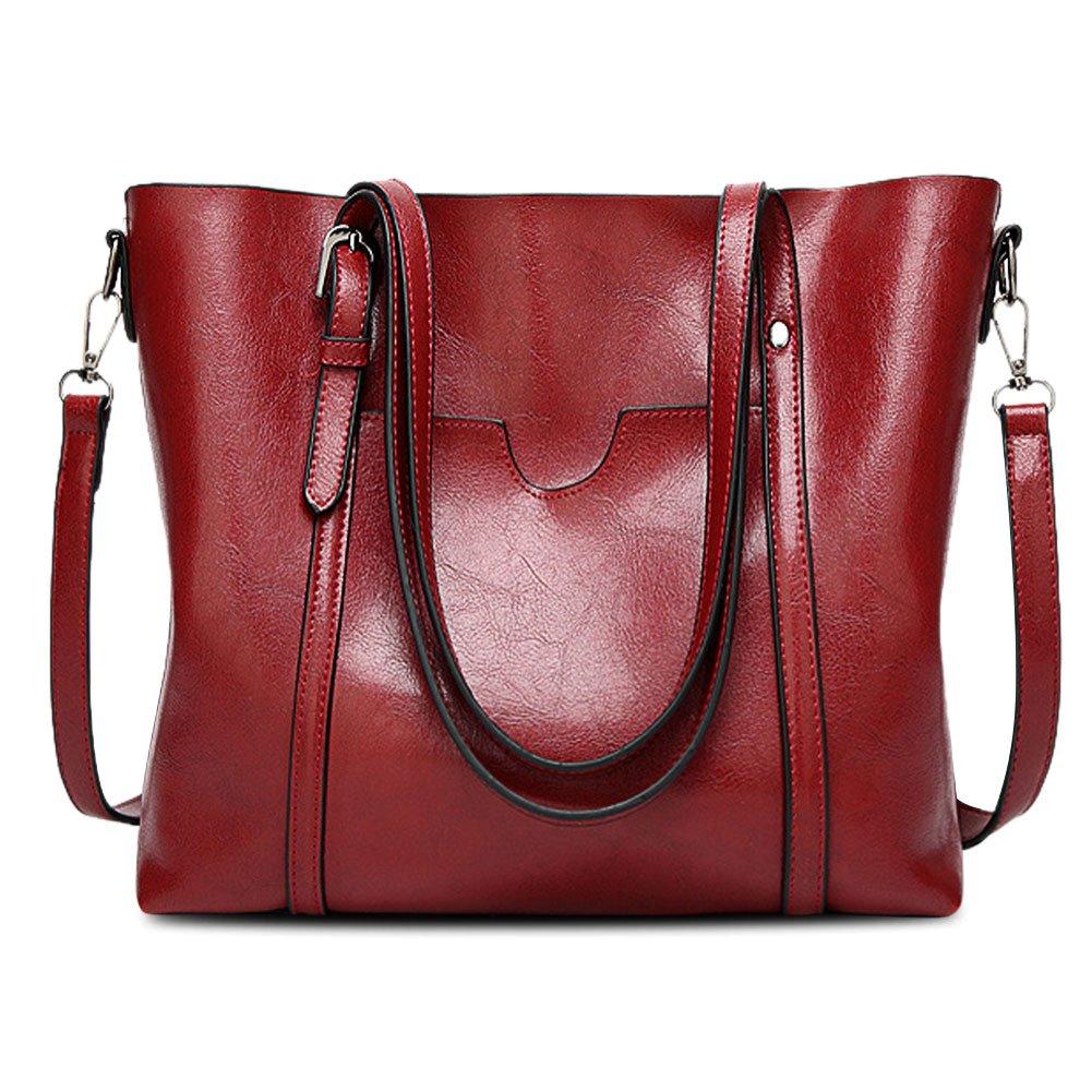 Vintga Women's Leather Work Tote Bag Large Shoulder Bag Purse Top Handle Satchel Handbags Crossbody Bag (Red Wine)