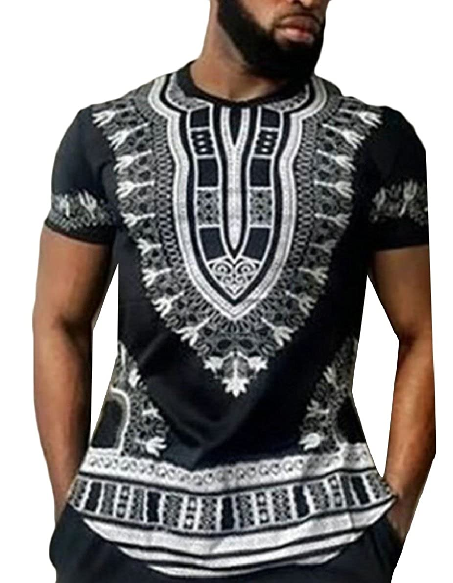 xiaohuoban Mens African Printed Dashiki Tees Shirts Short Sleeve Ethnic Tops Blouses
