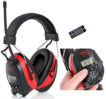 SKS 1180 - Cascos digitales con radio FM/AM y conector MP3, protector auditivo