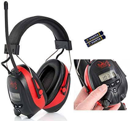 SKS 1180 - Cascos digitales con radio FM/AM y conector MP3, protector auditivo
