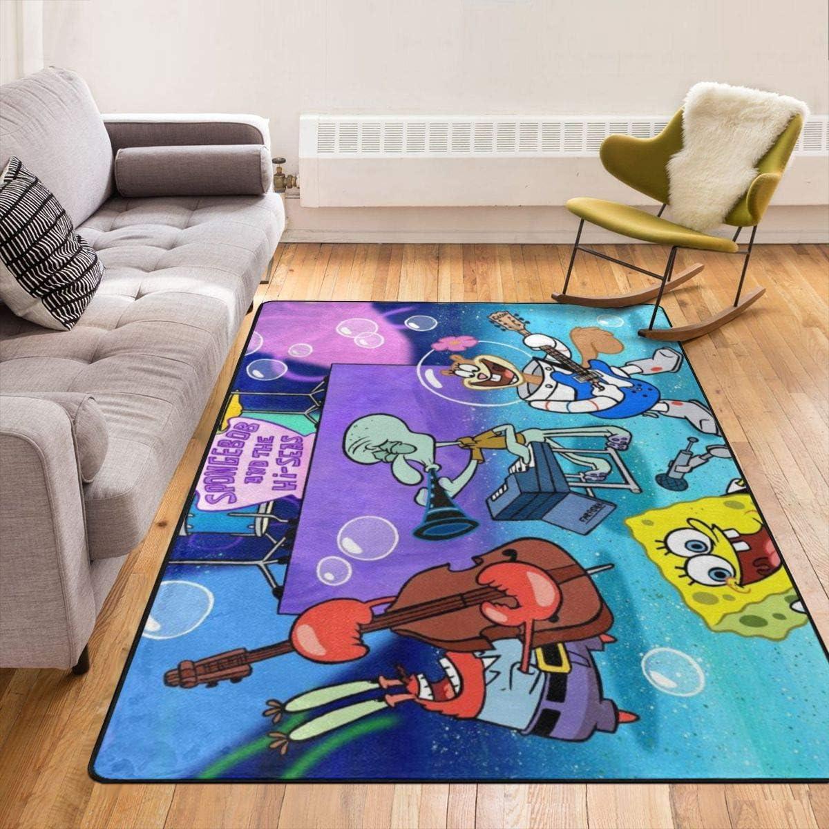 Beautiful Spongebob Squarepants Super Soft Modern Non Slip Living Room Rug Home Kitchen Carpets Rugs