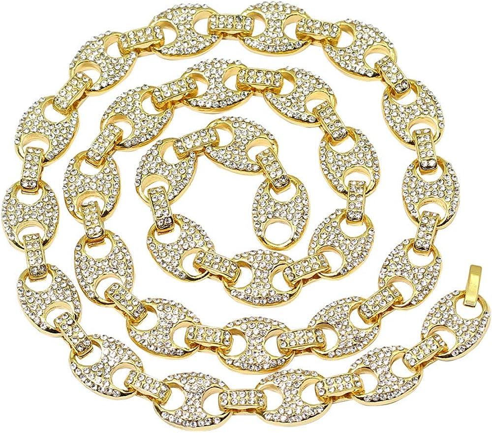 Diamante simulado de 12 mm para Hombres Acabado en Oro Acabado Marinero sólido Cadena de eslabones Gargantilla Collar Hip Hop Joyas Cerdo Nariz Cadenas Joyas